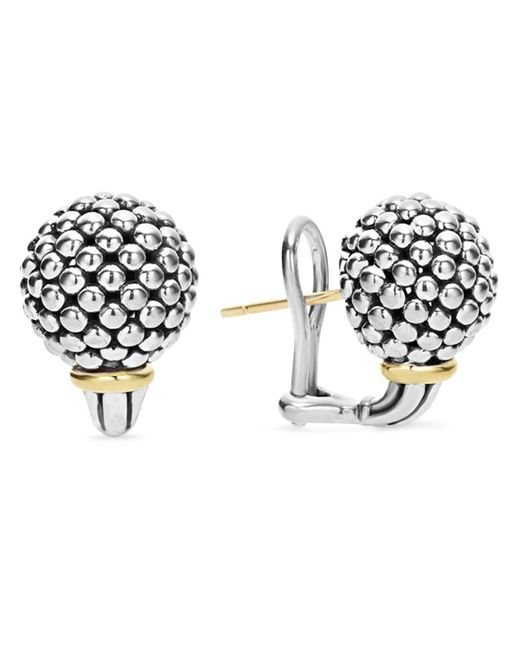 Lagos   Metallic Sterling Silver Small Caviar Bead Stud Earrings With 18k Gold   Lyst