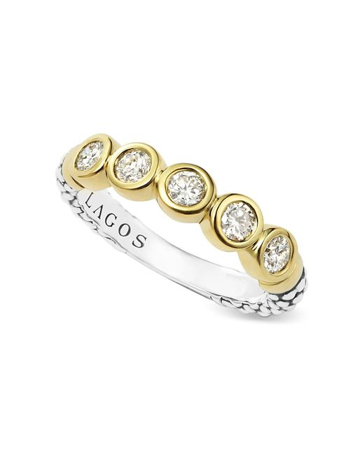Lagos | Metallic Sterling Silver And 18k Gold Five Diamond Stacking Ring | Lyst
