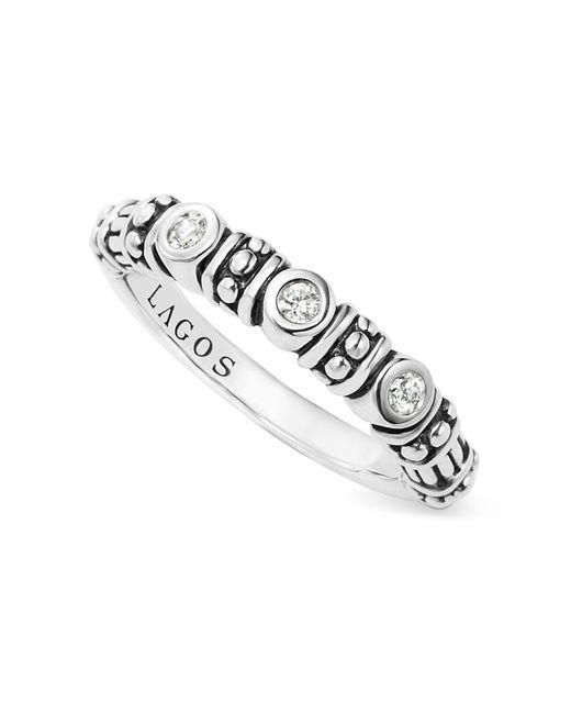 Lagos | Metallic Sterling Silver Three Diamond Stacking Ring | Lyst