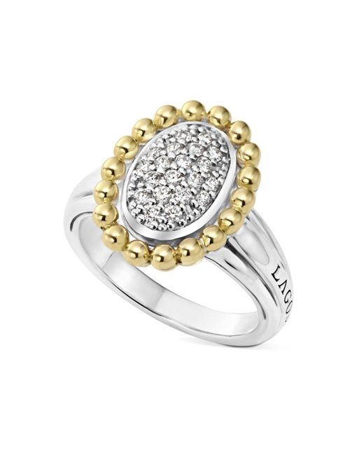 Lagos   Metallic Sterling Silver And 18k Gold Oval Diamond Ring With Caviar Beading   Lyst