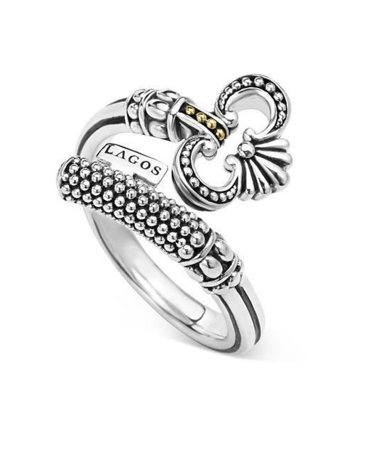 Lagos   Metallic Sterling Silver Skeleton Key Ring With 18k Gold   Lyst