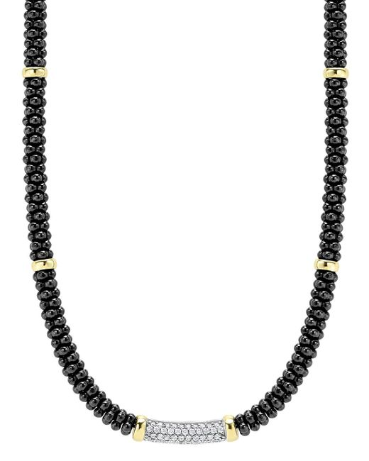 """Lagos   Metallic Black Caviar Ceramic And Diamond Necklace With 18k Gold Stations, 16""""   Lyst"""