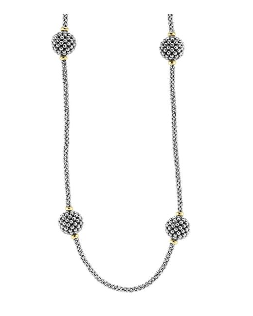 Lagos | Metallic Sterling Silver Beaded Necklace With Caviar Stations, 32"