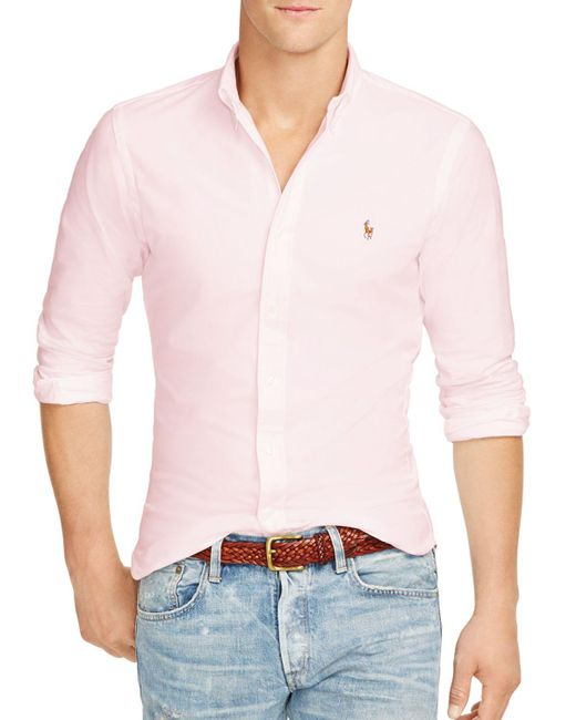 Polo Ralph Lauren | Pink Slim-fit Stretch-oxford Shirt for Men | Lyst