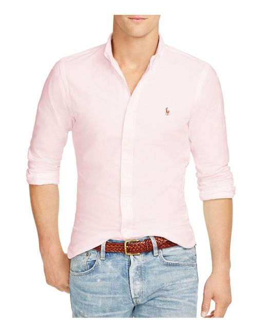 Polo Ralph Lauren | Pink Men's Slim Fit Striped Stretch Oxford Shirt for Men | Lyst