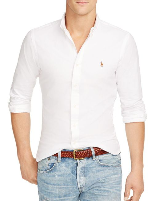 Polo Ralph Lauren | White Slim-fit Stretch-oxford Shirt for Men | Lyst