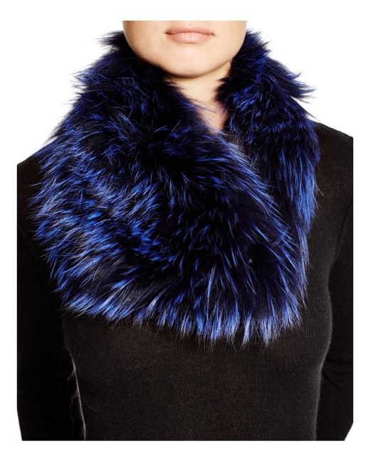 Badgley Mischka | Blue Fox Fur Infinity Scarf | Lyst