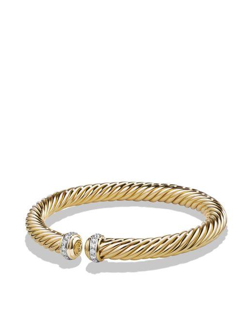 David Yurman | Metallic Cable Spira Bracelet With Diamonds In 18k Gold | Lyst