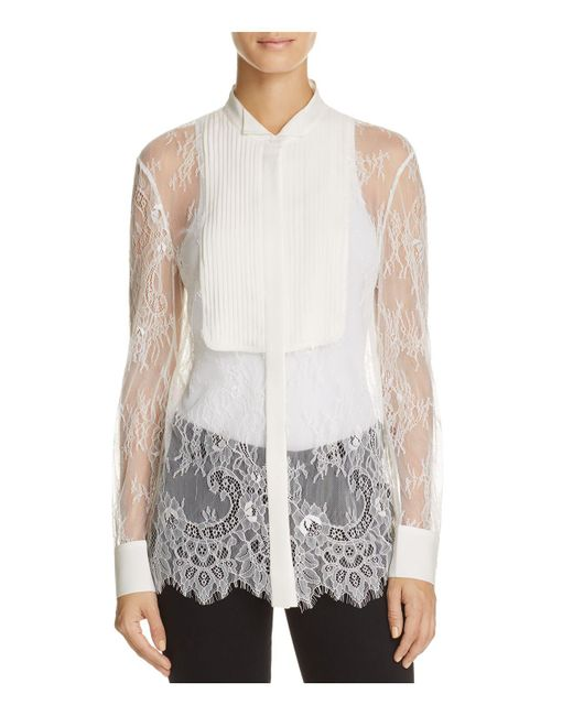 Chelsea and Walker | White Mesa Lace Tuxedo Shirt | Lyst