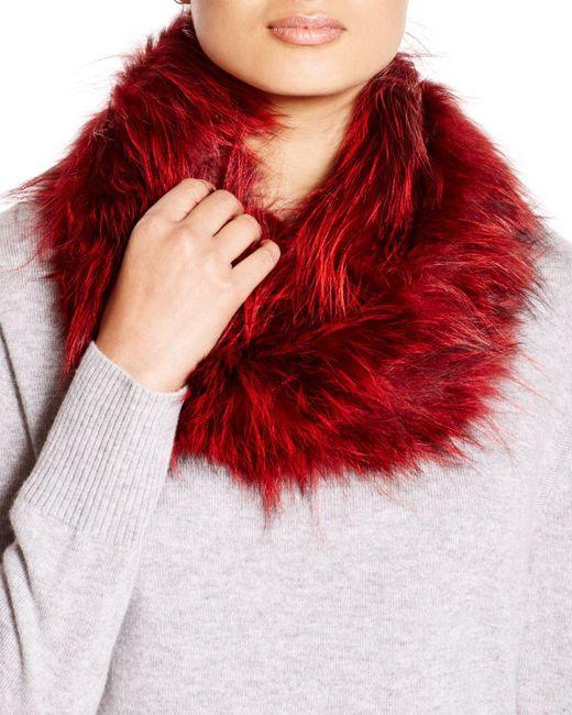Adrienne Landau | Red Mongolian Lamb Fur Clip Scarf | Lyst