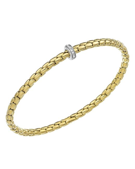 Chimento | Metallic 18k Yellow & White Gold Stretch Spring Collection Disc Rope Station Bracelet With Diamonds | Lyst