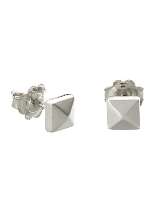 Chimento   Metallic 18k White Gold Armillas Pyramis Collection Square Stud Earrings   Lyst