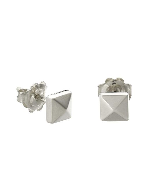 Chimento | Metallic 18k White Gold Armillas Pyramis Collection Square Stud Earrings | Lyst