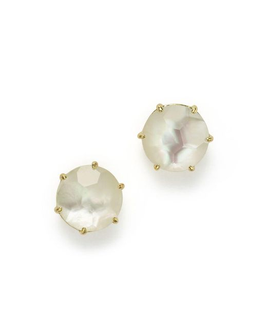 Ippolita | White 18k Gold Rock Candy Medium Round Stud Earrings In Mother-of-pearl Doublet | Lyst