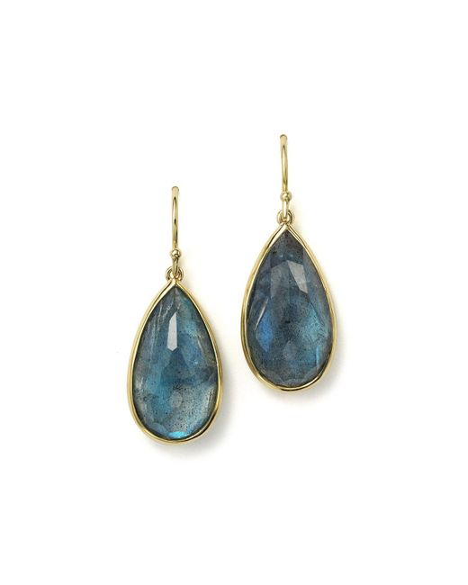 Ippolita | 18k Gold Rock Candy Medium Teardrop Earrings In London Blue Topaz And Labradorite Doublet | Lyst