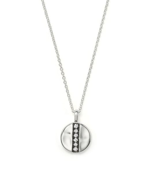 "Ippolita   Metallic Sterling Silver Glamazon Stardust Mini Station Disc Pendant Necklace With Diamonds, 16""   Lyst"