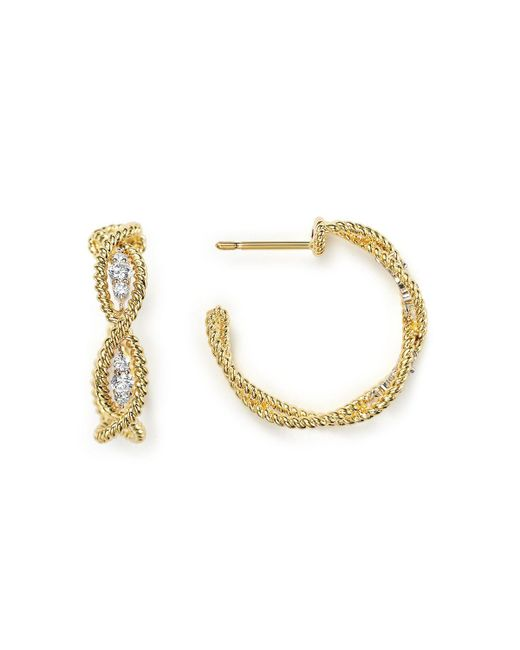 Roberto Coin | Metallic 18k Yellow Gold New Barocco Braided Hoop Earrings With Diamonds | Lyst