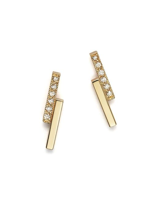 Zoe Chicco   Metallic 14k Small Staggered Bar Stud Earrings With Diamonds   Lyst