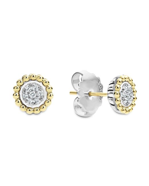 Lagos | Metallic 18k Gold And Diamond Caviar Stud Earrings | Lyst