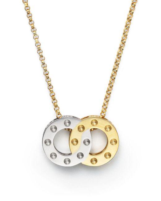 "Roberto Coin | Metallic 18k Yellow And White Gold Pois Moi Pendant Necklace, 16"" | Lyst"