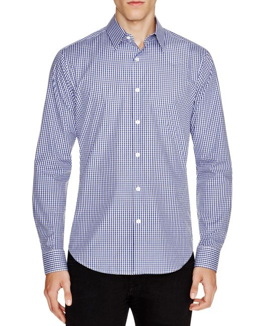 Theory | Blue Sylvain Amicable Gingham Slim Fit Button-down Shirt for Men | Lyst