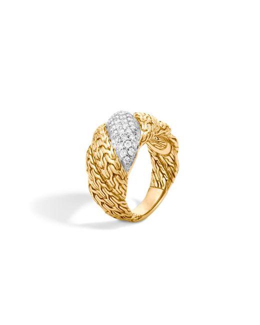 John Hardy | Metallic Classic Chain 18k Gold Diamond Pavé Flat Twisted Chain Ring | Lyst