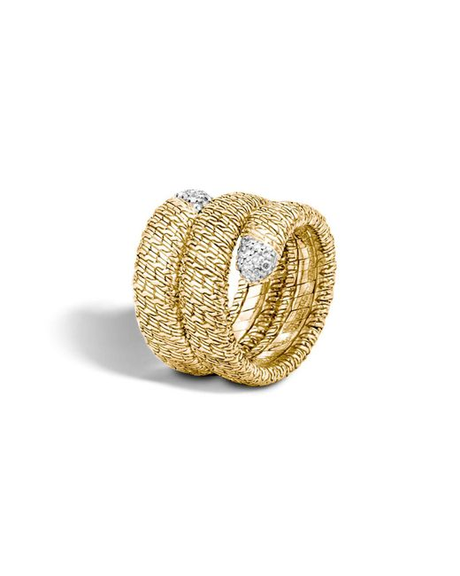 John Hardy | Metallic Classic Chain 18k Gold Diamond Pavé Double Coil Ring | Lyst