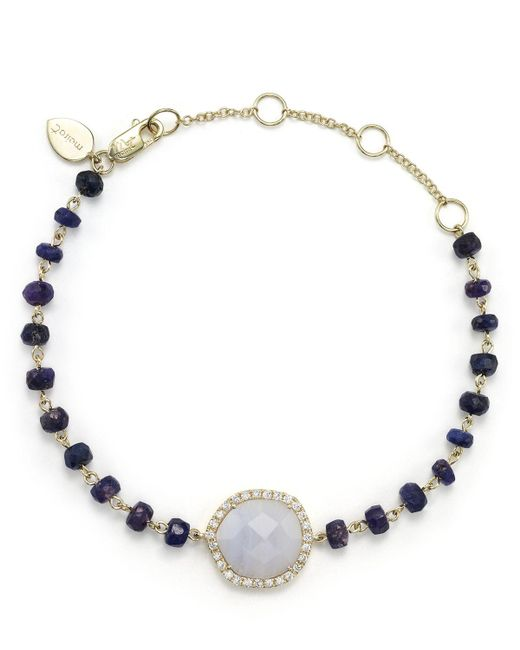 Meira T | 14k Yellow Gold, Blue Lace Chalcedony And Sapphire Bead Bracelet With Diamonds | Lyst