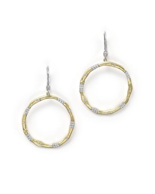 Meira T | Metallic 14k Gold And Diamond Open Circle Earrings | Lyst