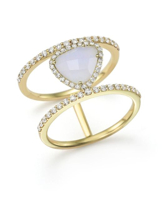 Meira T | 14k Yellow Gold And Blue Lace Chalcedony Ring | Lyst