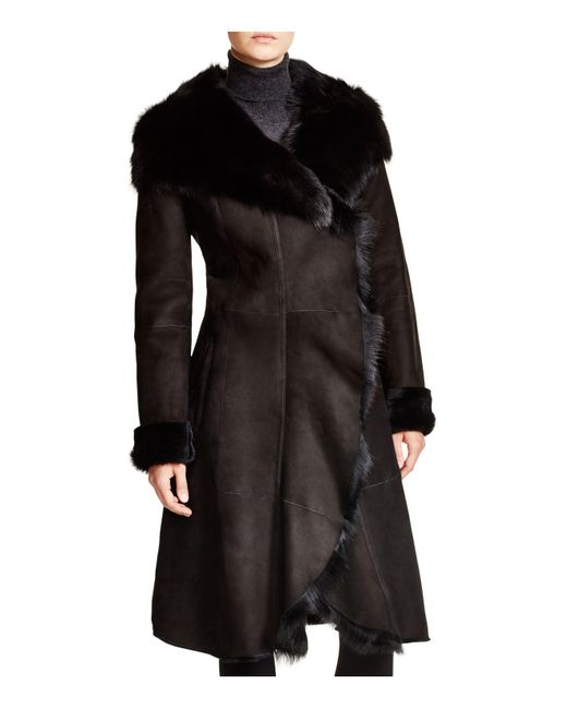 Maximilian | Black Maximilian Shearling Coat With Toscana Collar | Lyst