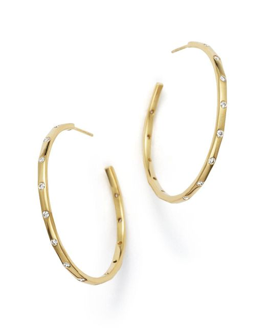 Ippolita | Metallic 18k Gold Glamazon Stardust Hoop Earrings With Diamonds | Lyst