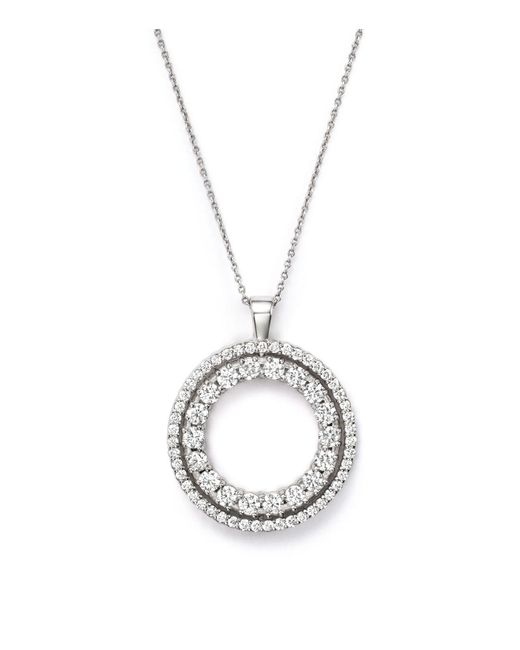 Roberto Coin | Metallic 18k White Gold Double Sided Circle Pendant Necklace With White And Black Diamonds, 16"