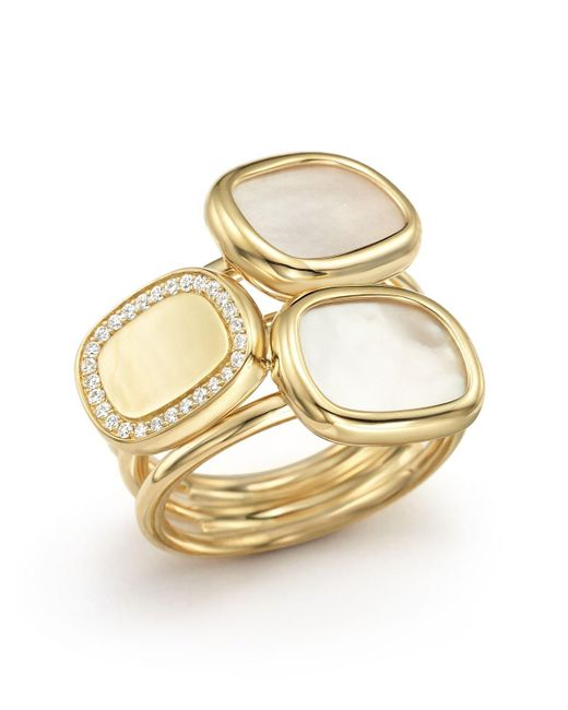 Roberto Coin | Metallic 18k Yellow Gold Ring With Mother-of-pearl And Diamonds | Lyst