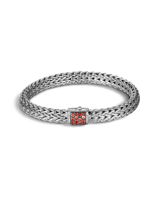 John Hardy | Metallic Classic Chain Sterling Silver Lava Medium Bracelet With Red Sapphire | Lyst