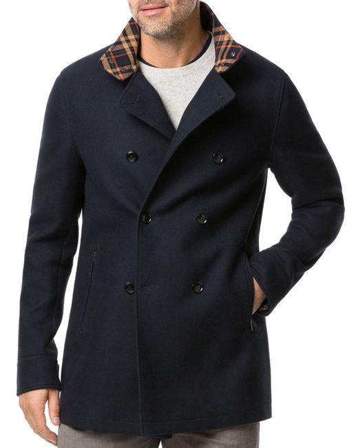 Rodd & Gunn Blue Double - Breasted Plaid - Collar Coat for men