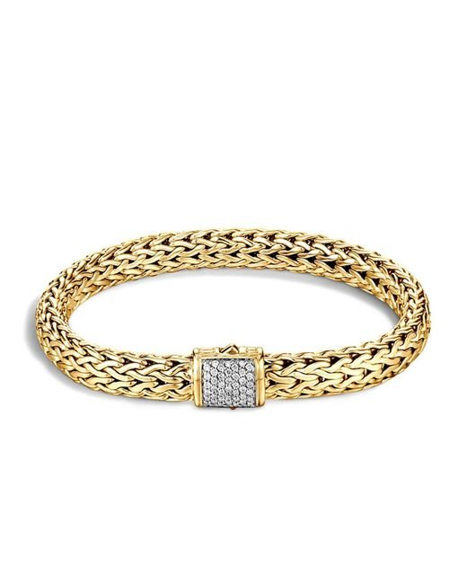 John Hardy | Metallic Classic Chain 18k Gold Medium Bracelet With Diamond Pavé | Lyst