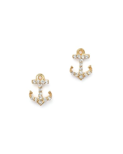 KC Designs | Metallic Diamond Anchor Earrings In 14k Yellow Gold | Lyst