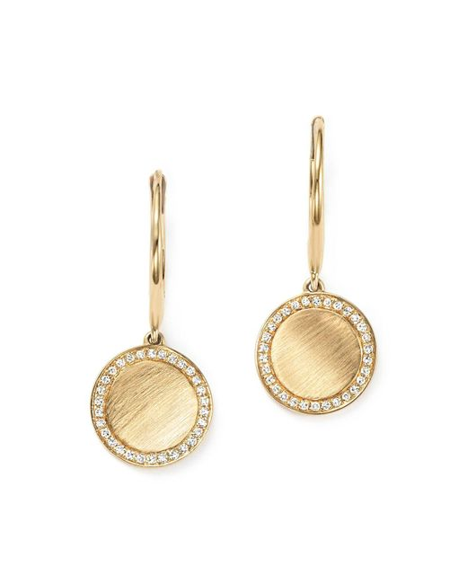 KC Designs | Metallic Diamond Disc Drop Earrings In 14k Yellow Gold | Lyst