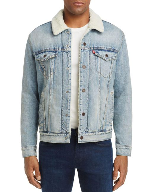 Levi's Blue Fine Line Faux Sherpa Denim Trucker Jacket for men