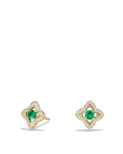 David Yurman | Green Venetian Quatrefoil Earrings With Emeralds And Diamonds In 18k Gold | Lyst