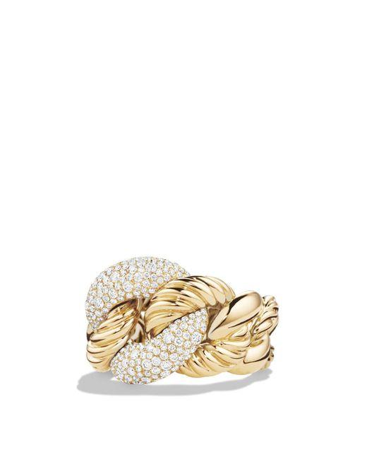 David Yurman | Metallic Belmont Curb Link Ring With Diamonds In 18k Gold | Lyst