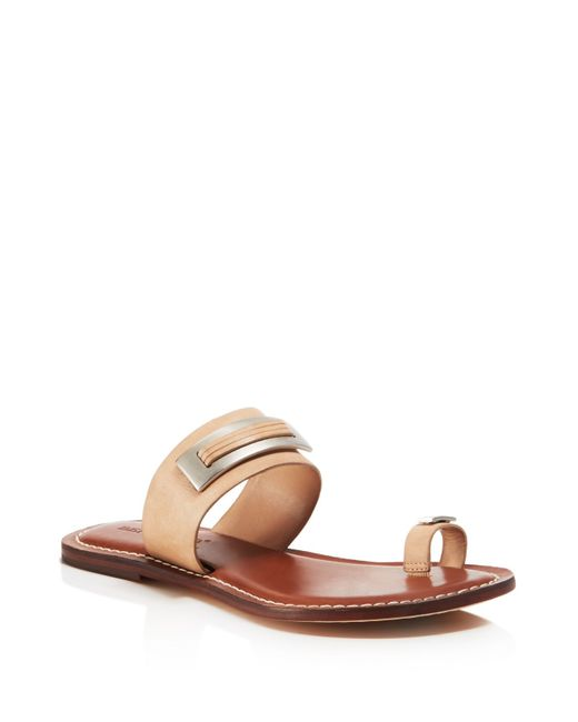 Bernardo Molly Toe Ring Flat Sandals In Brown Light Camel