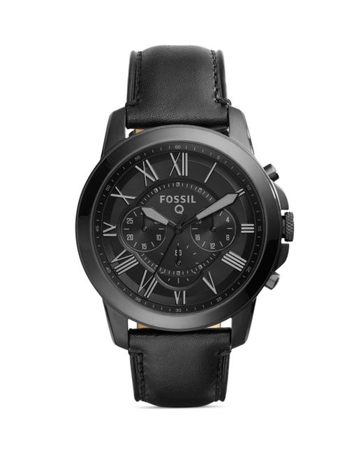 Fossil | Black Q Grant Leather Strap Tech Watch, 44mm for Men | Lyst