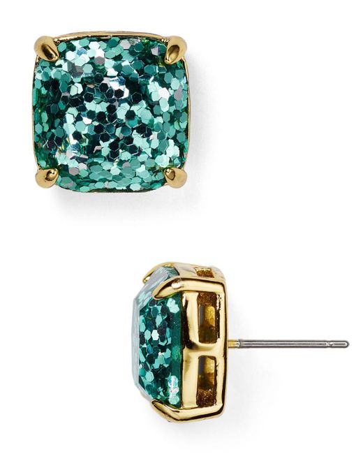 kate spade new york | Blue Small Square Glitter Stud Earrings | Lyst