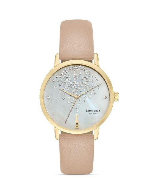 kate spade new york | White Vachetta Champagne Dial Metro Watch, 34mm | Lyst