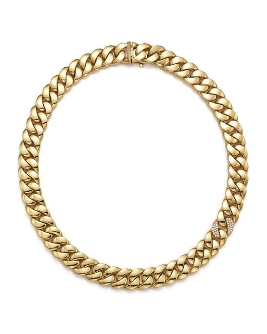 Roberto Coin | Metallic Gourmette Diamond & 18k Yellow Gold Chain Necklace | Lyst