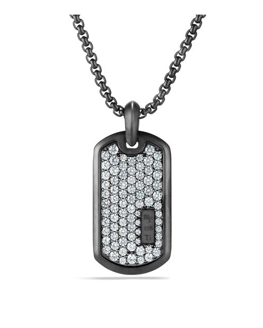 David Yurman   Metallic Pavé Tag With Grey Sapphire In Black Titanium   Lyst