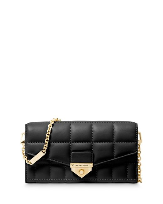 MICHAEL Michael Kors Black Large Quilted Chain Wallet