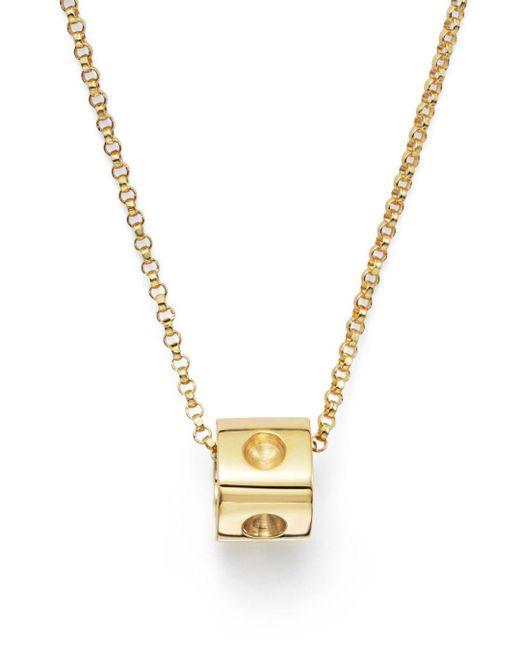 Roberto Coin Metallic 18k Yellow Gold Pois Moi Mini Cube Pendant Necklace